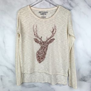 Bethany Mota Rose Gold Sequin Deer Sweater Boho S